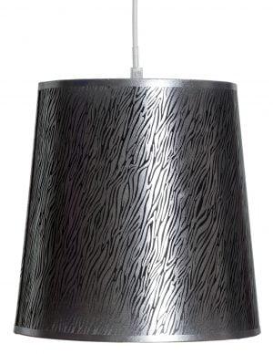 Tumman hopea riippuvalaisin, jossa on ohutta, mustaa seeprakuviointia. Valaisin riippuu valkoisen johdon varassa.