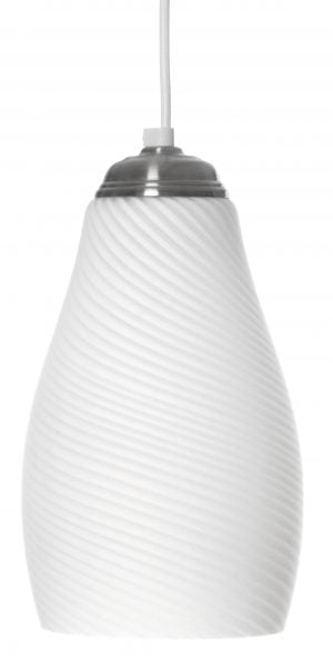 Valkoinen riippuvalaisin, jossa on harjatun teräksen värinen kanta. Kupuosa on pyöreälinjainen leveten alaspäin, ja vinottain raitakuvio.