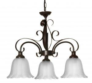 Tumman ruskea kattokruunu, jonka runko on koristeellisesti koukerolla. Kruunussa on kolme kantaa, joissa on alaspäin osoittavat, etsatut lasit.