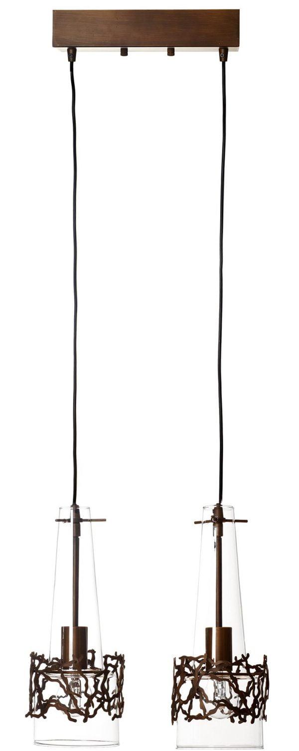 Tumman ruskea biljardivalaisin, jossa riippuu kaksi lasista kupua johtojen päissä. Kupujen ympärillä on koristeelliset metallikehikot.