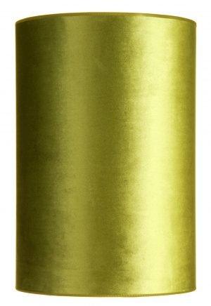 Sylinterin muotoinen, korkea, samettikankainen lampunvarjostin. Varjostin on väriltään vihreä ja se on yksivärinen.