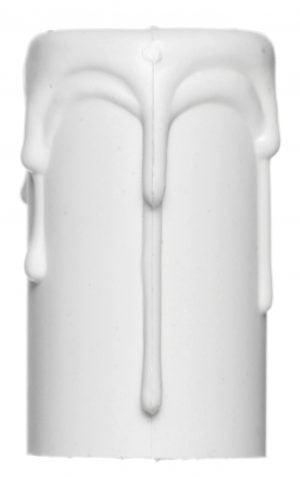 Valkoinen, muovista valmistettu kynttiläholkki, joka muistuttaa muodoltaan kynttilää, josta valuu steariinia.