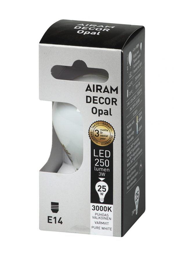 Airam E14 LED filamentti, matta pallolamppu, 3W, pakkaus
