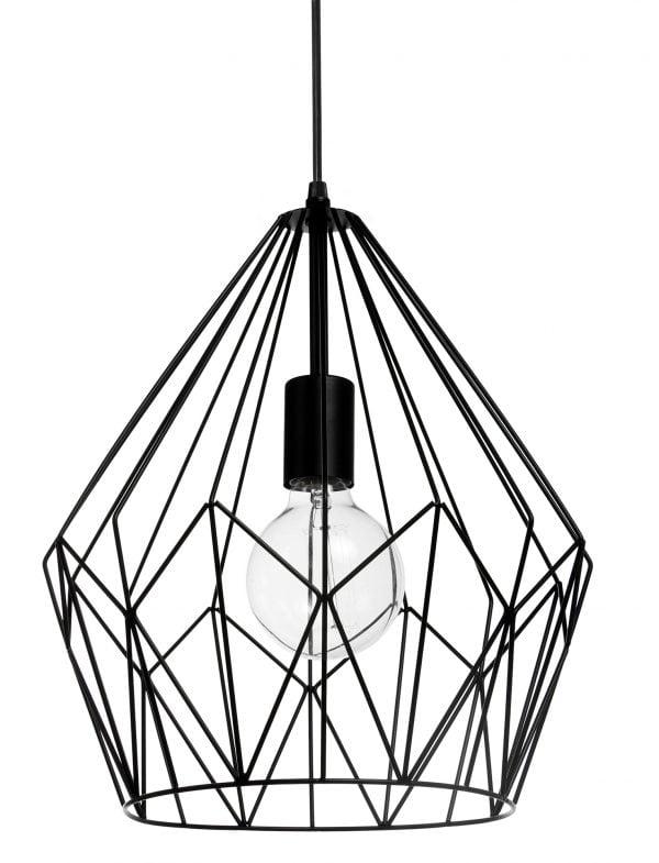 Timantin muotoinen, metallinen, riippuva kattovalaisin. Valaisin on väriltään musta ja sen materiaali on metallilanka .