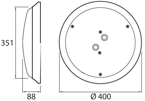 Valkoisella taustalla musta viivapiirros valaisimesta. Kuvassa on myös valaisimen mitat millimetreinä.
