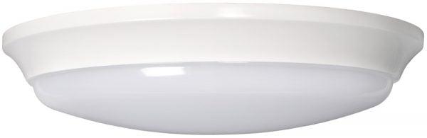 Pyöreä plafondi, jossa on valkoinen runko ja valkoinen kupu. Kupuosa on hieman rungosta ulkoneva.