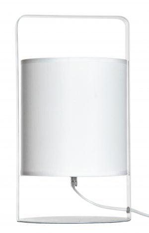 Valkoisella tautalla valokuva valkoisesta valaisimesta, jonka pohja on pyöreä, ja jonka yli kulkee musta kehys. Kehyksen keskellä on sylinterin muotoinen varjostin. Varjostimen alta lähtee valkoinen johto, joka kulkee oikealle.