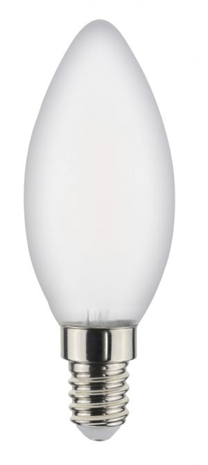 Valkoisella taustalla valokuva kynttilämallisesta polttimosta, jossa on valkoinen kupu ja teräksen väriset kierteet.