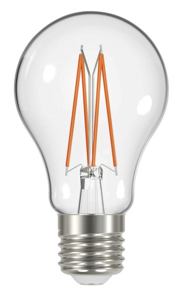 Valkoisella taustalla valokuva polttimosta, jossa on läpinäkyvä kupu ja nelkä oranssia hohdinta. Polttimon kierteet ovat teräksen väriset.