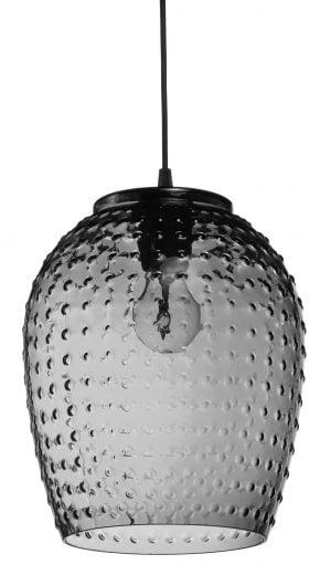 Riippuva, lasinen kattovalaisin. Valaisin on harmaa ja sen pinnassa on tasainen pallonmuotoinen kohokuvio.