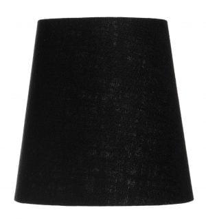 Yksivärinen kruunuvarjostin jonka väri on musta ja materiaali on laminoitu kangas.