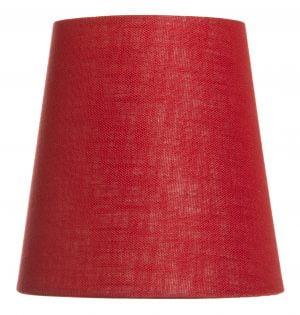 Yksivärinen kruunuvarjostin jonka väri on punainen ja materiaali on laminoitu kangas.