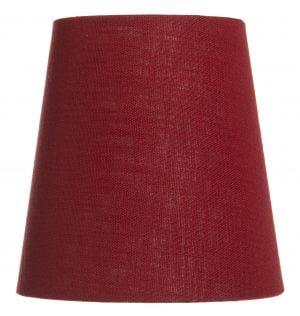 Yksivärinen kruunuvarjostin jonka väri on tummanpunainen ja materiaali on laminoitu kangas.