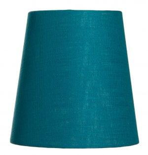Yksivärinen kruunuvarjostin jonka väri on turkoosi ja materiaali on laminoitu kangas.