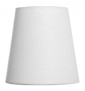 Yksivärinen kruunuvarjostin jonka väri on valkoinen ja materiaali on laminoitu kangas.