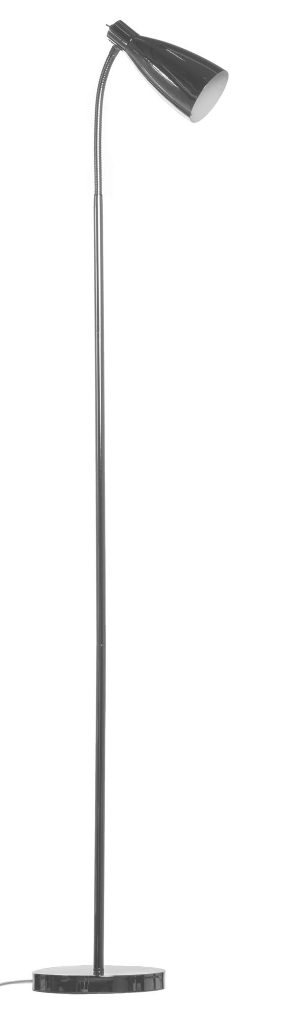 Metallinen lattiavalaisin jossa kytkin on valaisimen kupuosassa. Jalkalamppu on kromin värinen. Kuvun sisäosa on valkoinen.