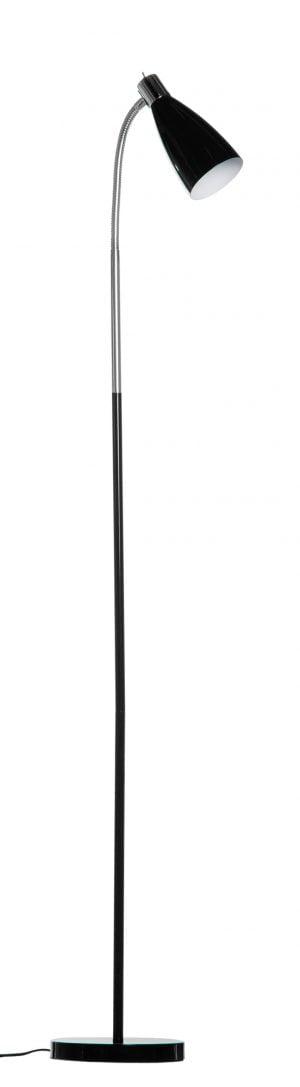 Metallinen lattiavalaisin jossa kytkin on valaisimen kupuosassa. Jalkalamppu on väriltään musta. Kuvun sisäosa on valkoinen.