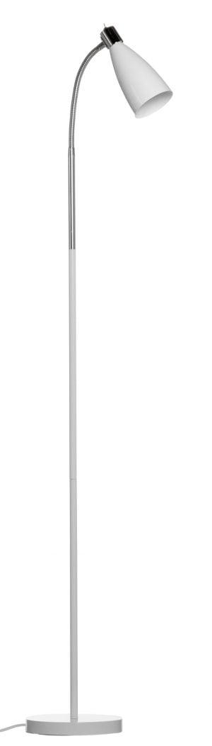 Valkoinen lattiavalaisin, jossa on ohut runko. Rungon päässä on taivuteltava, kromin värinen varsi, jonka päässä on suipon mallinen, valkoinen, varjostin.