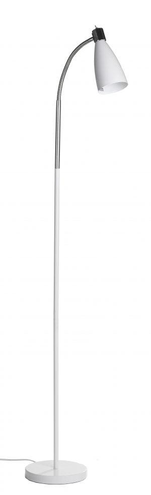 Metallinen lattiavalaisin jossa kytkin on valaisimen kupuosassa. Jalkalamppu on väriltään valkoinen.
