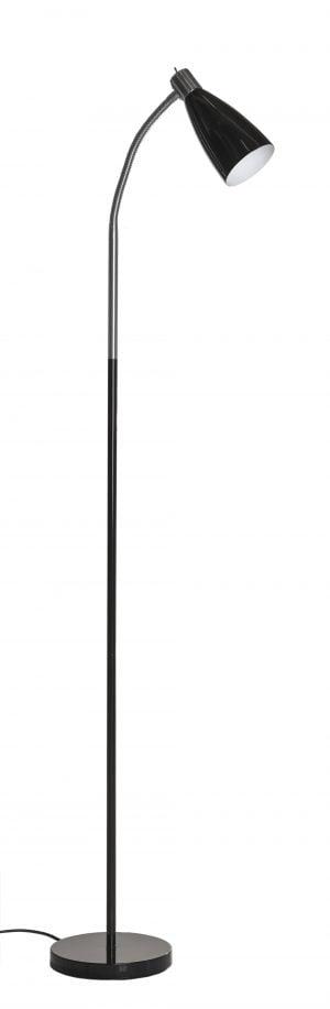 Aksel musta on metallinen lattiavalaisin jossa kytkin on valaisimen kupuosassa. Jalkalamppu on väriltään musta. Kuvun sisäosa on valkoinen.