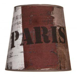 Ruskea lampunvarjostin, joka levenee ylhäältä alaspäin. Kankaassa on kolme pystyraitaa sekä teksti PARIS.