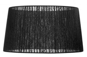 Lampunvarjostin, jonka väri on musta. Varjostin on materiaaliltaan organzaa.