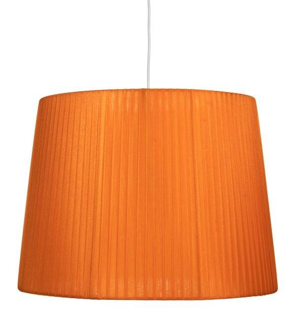 Valkoisen johdon päässä riippuva oranssi organzavarjostin, joka levenee alhaalta ylöspäin. Varjostimen runko on myös väriltään oranssi.