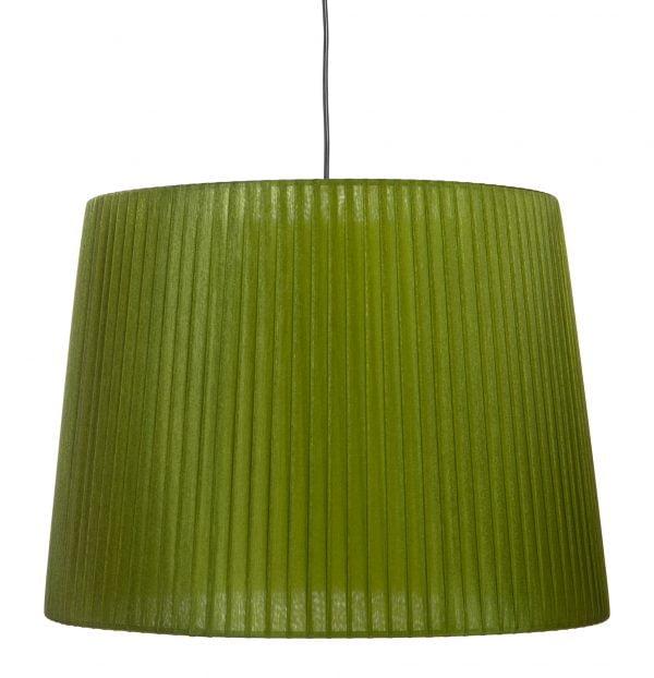 Lampunvarjostin jonka väri on vihreä. Varjostin on materiaaliltaan organzaa. Johto on musta.
