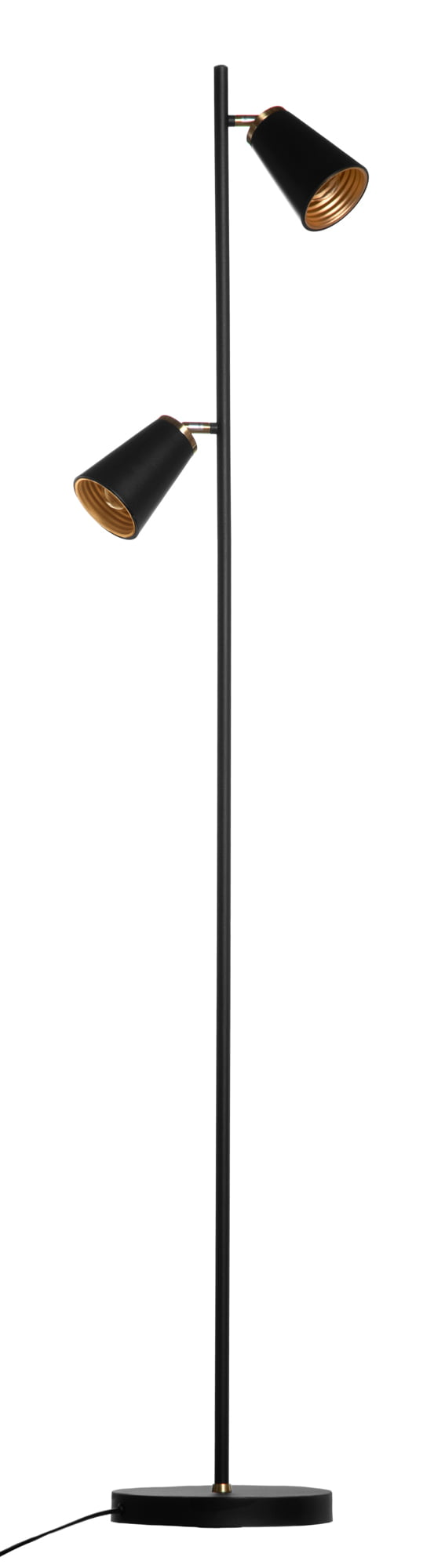 Musta lattiavalaisin, jossa on kaksi varjostinta. Varjostimet ovat valaisimen molemmin puolin ja niiden sisäosat ovat kullanväritset.