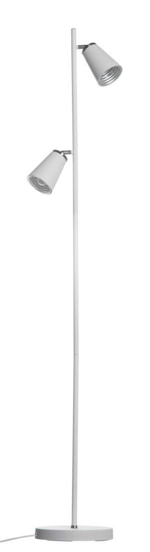 Valkoinen lattiavalaisin, jossa on kaksi varjostinta. Varjostimet ovat valaisimen molemmin puolin ja niiden sisäosat ovat hopean väriset.