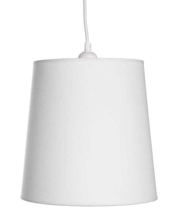 Valkoinen lampunjohto, jonka päässä on valkoinen varjostin, joka levenee hieman ylhäältä alaspäin.