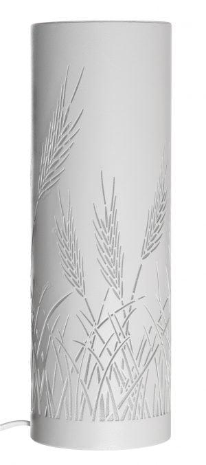 Valkoinen, sylinterin muotoinen pöytävalaisin, jossa on leikattu viljojen kuvia.