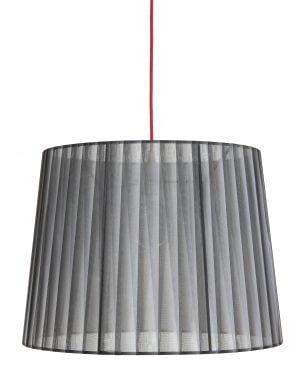 Lampunvarjostin jonka värit ovat harmaa ja musta. Varjostin on materiaaliltaan organzaa. Johto on punainen.
