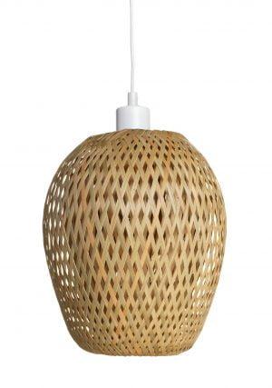 Riippuva kattovalaisin, joka on valmistettu bambusta. Tämä bambuvalaisin on varustettu valkoisella johdolla.