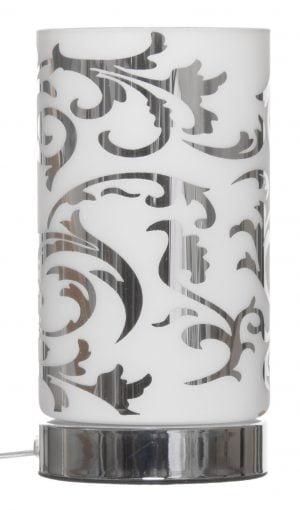 Pöytävalaisin jonka metallinen sähköosa on väriltään kromi. Kupuosan materiaali on lasi ja siinä on ornamentti kuvio.