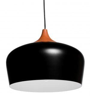 Metallinen, riippuva kattovalaisin. Valaisin on väriltään musta ja siinä on puukuvioinen yläosa. Valaisimen sisäpuoli on valkoinen.