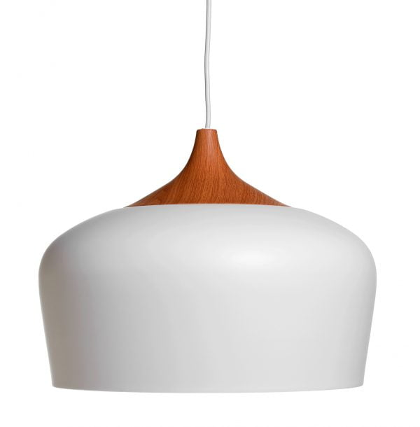 Metallinen, riippuva kattovalaisin. Valaisin on väriltään valkoinen ja siinä on puukuvioitu yläosa.