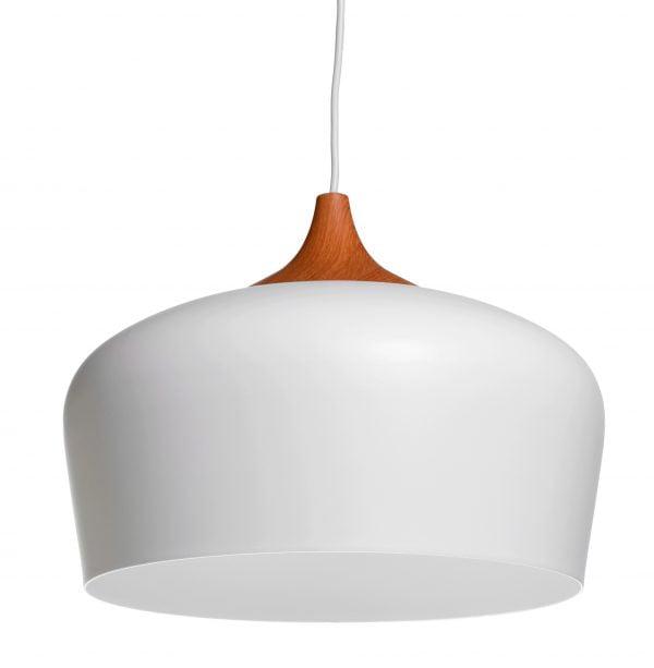 Metallinen, riippuva kattovalaisin. Valaisin on väriltään valkoinen ja siinä on puukuvioinen yläosa. Valaisimen sisäpuoli on valkoinen.