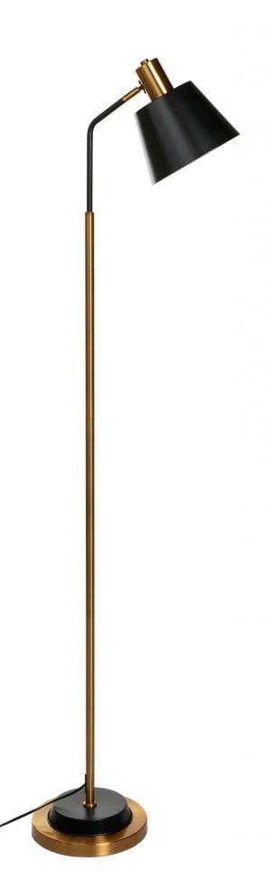 Metallinen lattiavalaisin. Jalkalamppu on väriltään antiikki kulta, varjostimen ja koristeosien väri on musta.