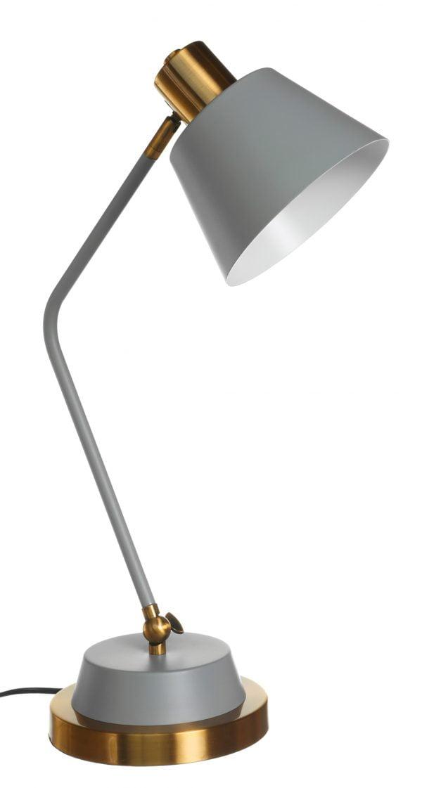 Metallinen pöytävalaisin. Pöytälamppu on väriltään harmaa ja sen tehostevärinä on antiikki kulta. Varjostin on sisäpuolelta valkoinen.