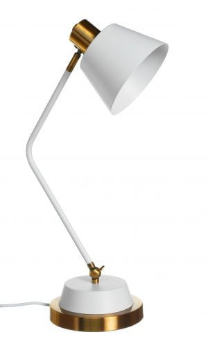 Metallinen pöytävalaisin. Pöytälamppu on väriltään valkoinen ja sen tehostevärinä on antiikki kulta.