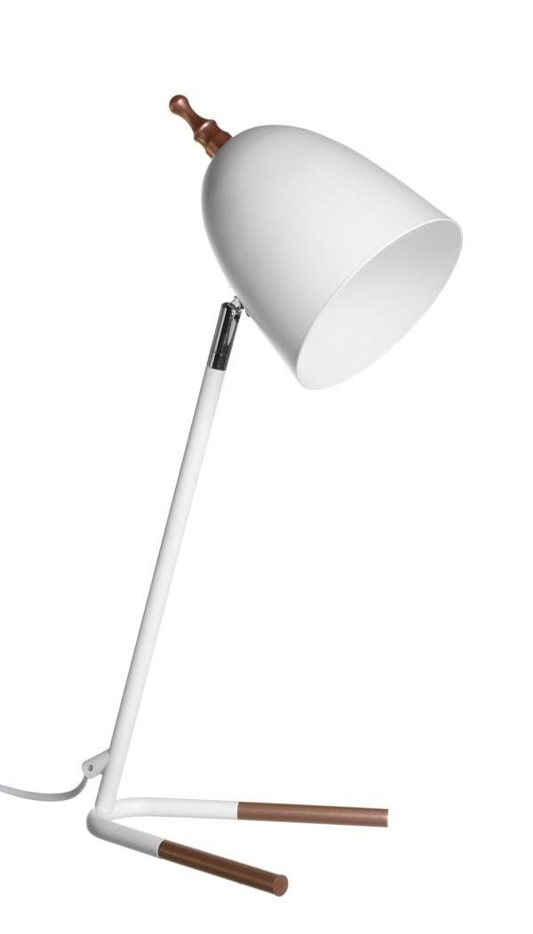 Metallinen pöytävalaisin. Pöytälamppu on väriltään valkoinen ja ruusukulta.