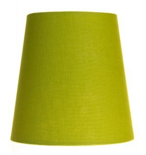 Yksivärinen kruunuvarjostin jonka väri on vihreä ja materiaali on laminoitu kangas.