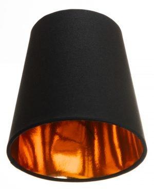 Kruunuvarjostin jonka väri on musta ja materiaali on laminoitu kangas. Varjostimen sisäpuolen väri on kupari.