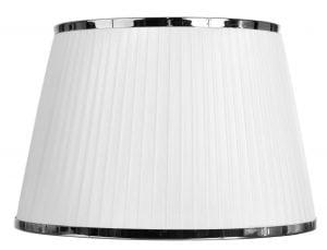 Yksivärinen lampunvarjostin jonka väri on valkoinen. Varjostin on materiaaliltaan organzaa. Kromikoriste molemmissa reunoissa.