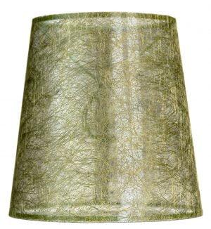 Läpikuultava lampunvarjostin jonka väri on vihreä. Varjostin on materiaaliltaan laminoitua kangasta.