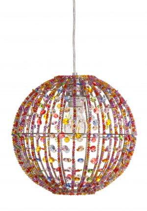 Inkku on pallon muotoinen, metallinen, riippuva kattovalaisin. Valaisin on kauttaaltaan päällystetty värikkäillä akryylikoristeilla.