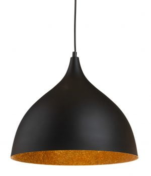 Riippuva kattovalaisin. Valaisin on metallinen ja sen väri on musta. Valaisimen sisäpuolen väri on kulta.